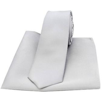 David Van Hagen Matching Satin Thin Tie and Pocket Square Set - Silver
