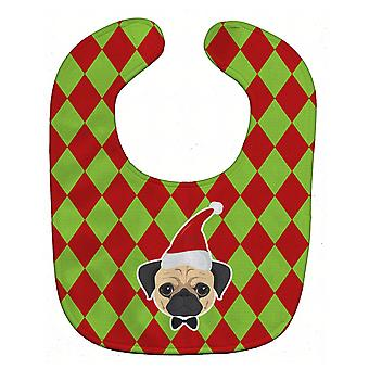 Carolines Treasures  BB5996BIB Christmas Fawn Pug Baby Bib