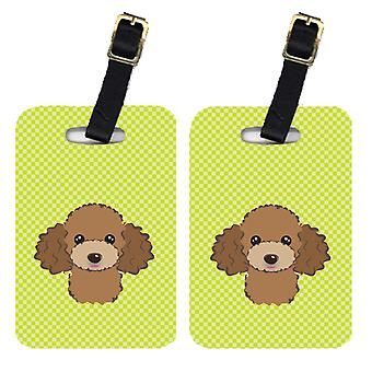 Pair of Checkerboard Lime Green Chocolate Brown Poodle Luggage Tags