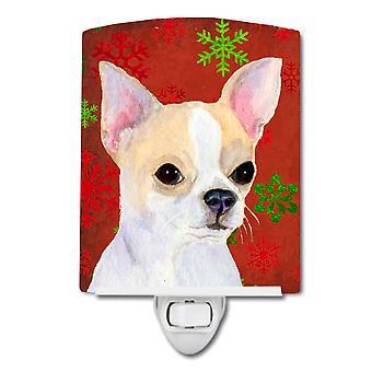 Chihuahua-rot und grün Schneeflocken Urlaub Weihnachten Keramik Nachtlicht