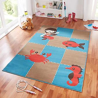 Design suede play mat sea creatures for kids blue Brown 140 x 200 cm