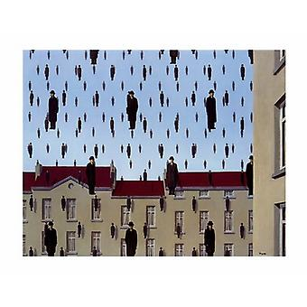 Golconde small Poster Print by Rene Magritte (14 x 11)