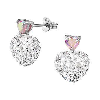 Crystal Heart - 925 Sterling Silver Cubic Zirconia Ear Studs