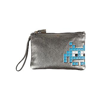 Anya Hindmarch women's 926577 silver leather clutch