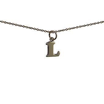 9ct Gold 10x10mm plain Initial L Pendant with a cable Chain 16 inches Only Suitable for Children