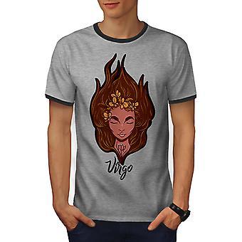Virgo Men Heather Grey / Heather Dark GreyRinger T-shirt | Wellcoda
