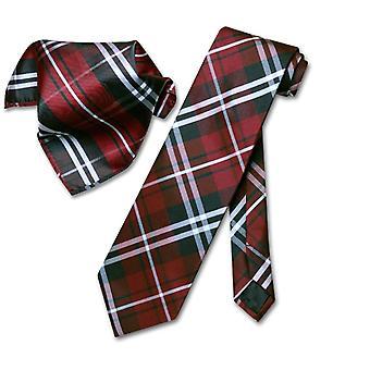 Vesuvio Napoli PLAID NeckTie & Handkerchief Neck Tie Set