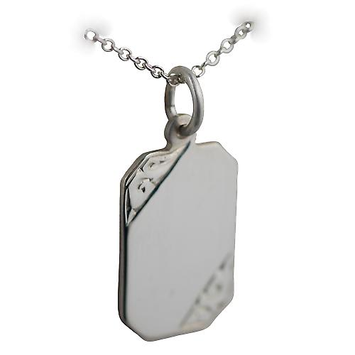 Silver 18x12mm hand engraved cut corner rectangular Disc with a rolo Chain 16 inches Only Suitable for Children