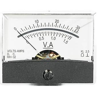 Analogue rack-mount meter VOLTCRAFT AM-60X46/30V/1,5A/DC 30 V/1.5 A Moving coil