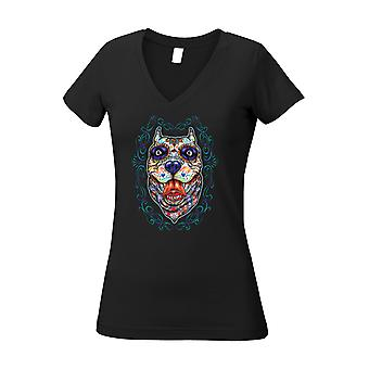 Women's Juniors V-Neck T Shirt Psychedelic Dog
