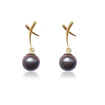 Earrings yellow gold ears and AAA black cultured pearls