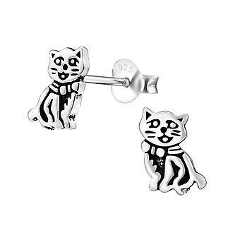 Cat - 925 Sterling Silver Plain Ear Studs - W31010x