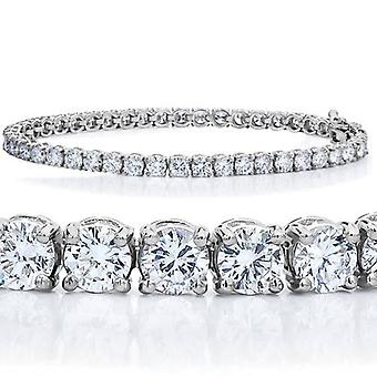 7 TCW 14k White Gold Certified Diamond Round Cut Tennis Bracelet