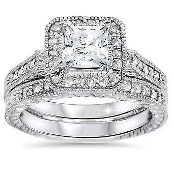1 1/2ct Vintage Halo Princess Cut Enhanced Diamond Engagement Ring Set 14k Gold