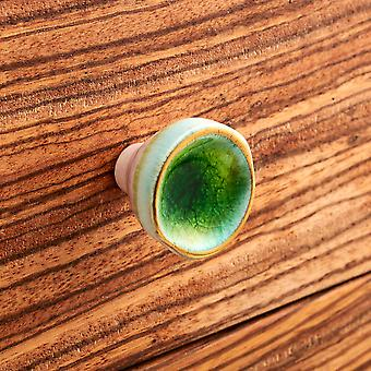 Green & Gold Concave Ceramic Faced Cupboard Knobs