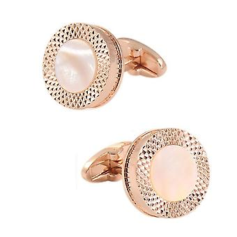 Round Rose Gold Cufflinks Shirt Sleeve White Marble Mother of Pearl Button
