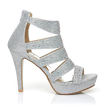 LUXE Silver Caged Diamante Encrusted High Heel Platform Peep Toe Sandals