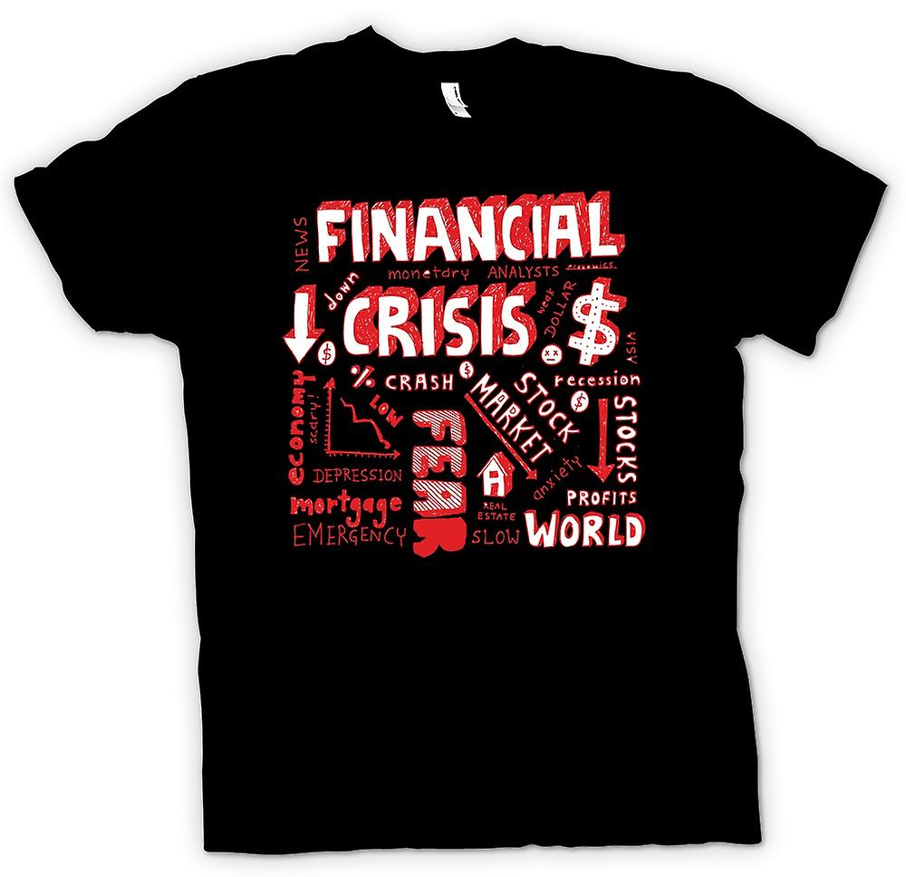 Mens T-shirt - Financial Crisis Word Cloud - World Crash