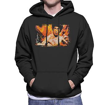 Sidney Maurer Original porträtt av Bruce Lee Flames ange Dragon Mäns Hooded Sweatshirt