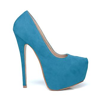 DONNA Turquoise Faux Suede Stilleto Very High Heel Platform Court Shoes