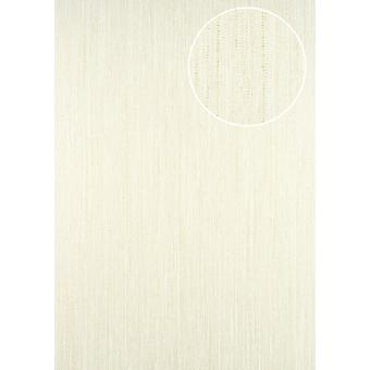 Perl white wallpaper ATLAS stripes CLA-596-3 non-woven wallpaper smooth with graphic patterns sparkle cream 5.33 m2