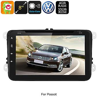 Dual-DIN Car Media Player - For Volkswagen Passat, Android 8.0, WiFi, GPS, CAN BUS, Octa-Core, 4GB RAM, HD Display, DVD