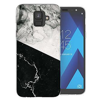 Samsung A6 (2018) zwart wit marmeren segment TPU Gel geval
