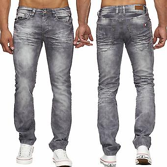 Men's Jeans Bleached Stone Washed Denim Cotton Pants Comfort Regular fit New
