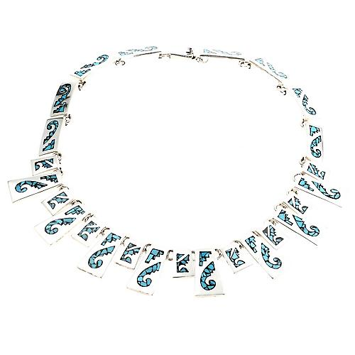 Mexican Turquoise Silver Necklace