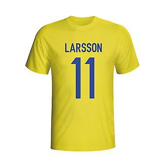 Henrik Larsson Zweden held T-shirt (geel)