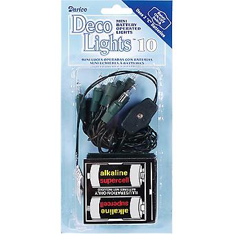 Deco Lights 10 Count Green Cord Batteries Required-