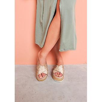 Glitter Studded Flatform Sandals Sliders Rose Gold