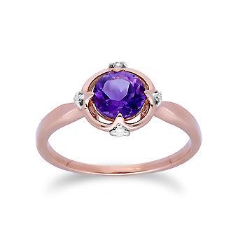 Gemondo 9ct złota róża Halo ametyst & diament okrągły pierścień tnący