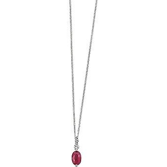 Elements Gold Skylight 9ct White Gold Ruby and Diamond Pendant - Red/White Gold