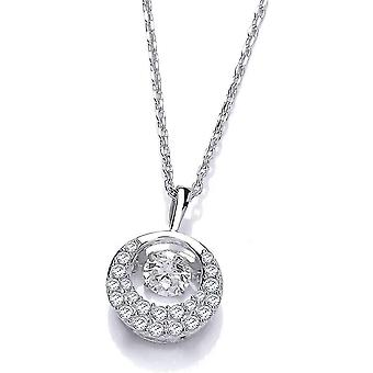 Cavendish French Dancing Cubic Zirconia Crescent Moon Necklace - Silver