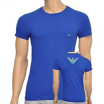 Emporio Armani Eagle Stretch Cotton Crew Neck T-Shirt, Blue, X-Large