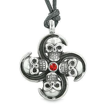 Overnaturlige kraniet beføjelser Magic alle kræfter i naturen Amulet rød krystal vedhæng regulerbar halskæde