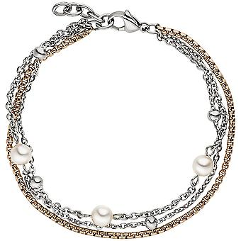 3-row stainless steel bicolor plated bracelet 21 cm with Crystal element