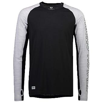 Mons Royale Black-Grey Marl Temple Tech Long Sleeved Baselayer Top