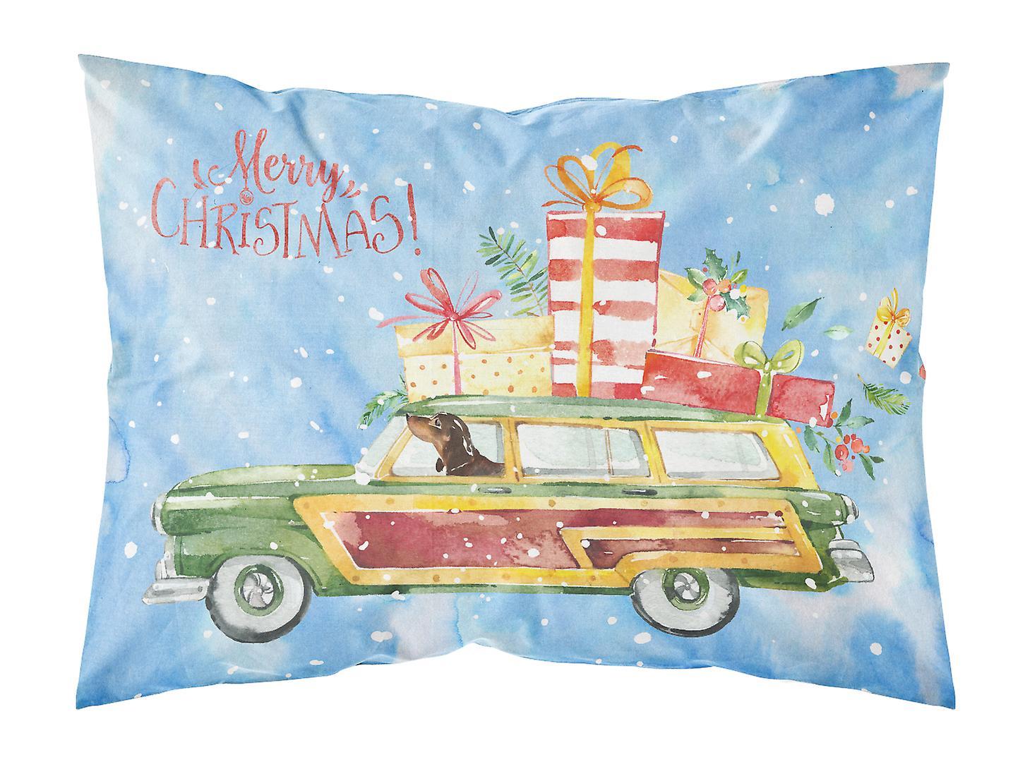 D'oreiller Standard De Christmas Dachshund Tissu Taie Merry 534RjLA