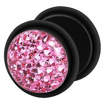 Falske snyder øret Plug sort, ørering, krop smykker, med Multi Crystal Pink