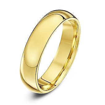 Star anneaux de mariage 18 carats jaune or Extra lourds Cour forme 5mm bague de mariage