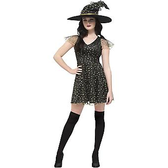 Smiffy's Fever Moon & Stars Witch Costume, Black & Gold, With Dress & Hat