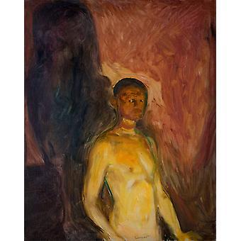 Self Portrait in Hell,Edvard Munch,50x40cm