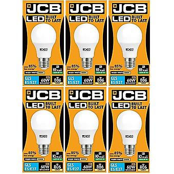 6 X JCB LED GLS Opal (Frosted) Household Light Bulb 10w Edison Screw 3000k Warm White[Energy Class A+]