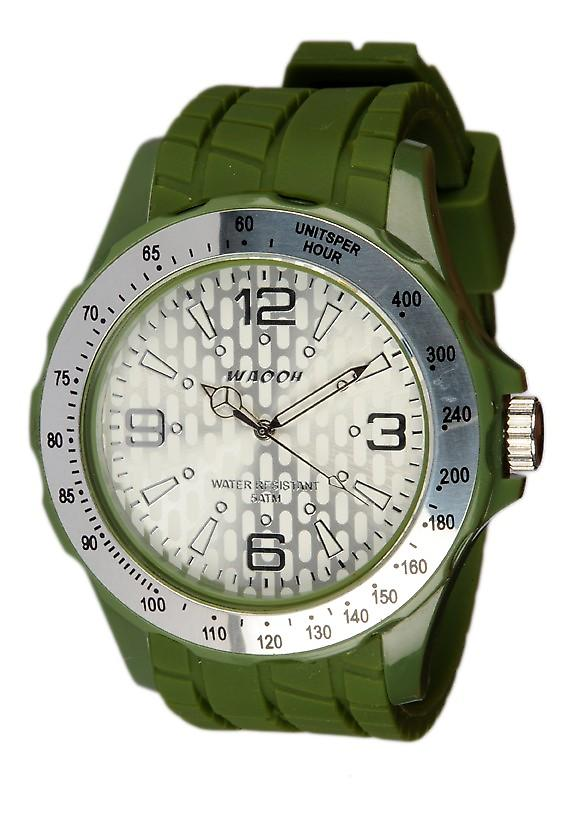 Waooh - Watch Silicone Khaki With A Silver Bezel and White Dial A Gpm48 Inspired From Monaco Grand Prix