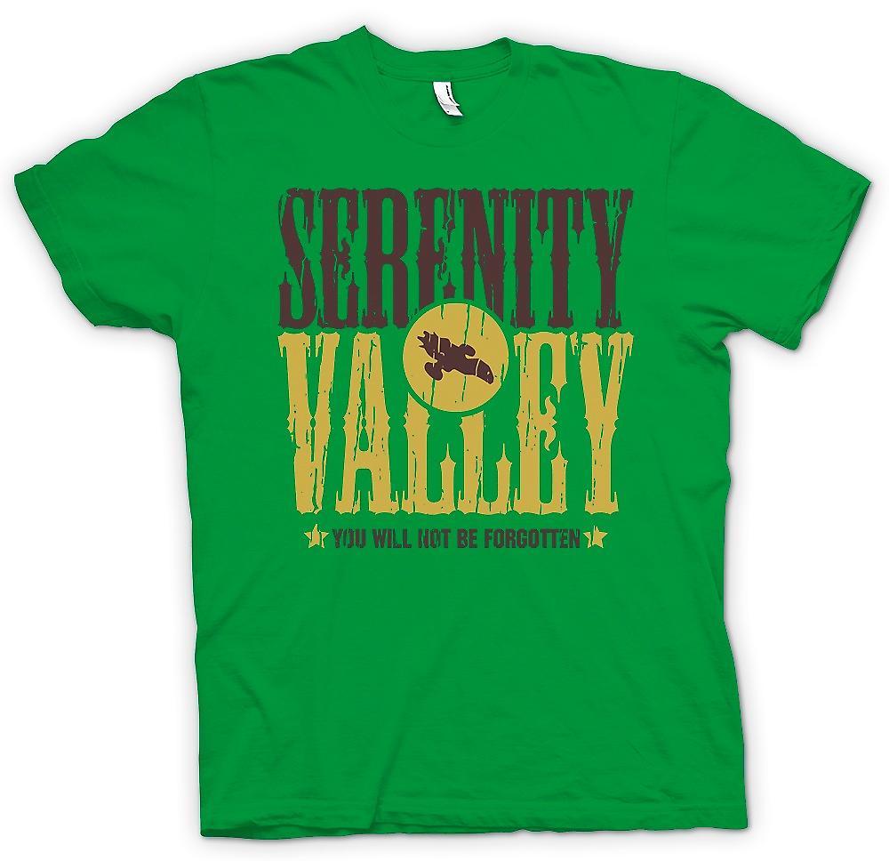 Heren T-shirt - Serenity Valley - u zal niet worden vergeten