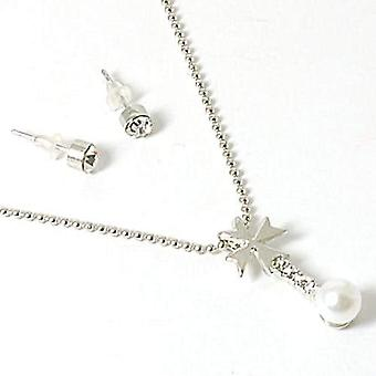 10x TOC Rhinestone & Simulated Pearl Drop Pendant & Stud Earring Set