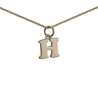 9ct Gold 11x12mm plain Initial H Pendant with a cable Chain 16 inches Only Suitable for Children