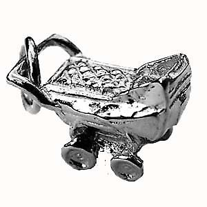 Silver 8x12mm solid Pram Pendant or Charm